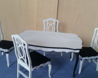 Vintage Barbie dining room table and chairs / upcycled