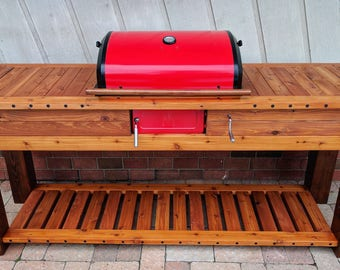 Viking style cedar wood charcoal grill