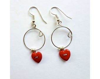 Earrings * DUO 2 hearts * red hanging on silver plated circle