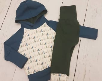 Blue Grow-with-me Set / Baby / Toddler / Kids Hoodie / Pants / Baby Clothes / Kids Clothes / Toddler Clothes / Baby Leggings / Baby Joggers