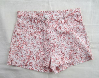 Red floral color child's shorts