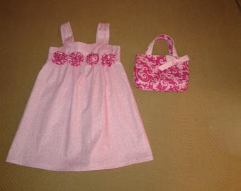 Girls Toddler Cotton Sun Dress Pink with flowers Matching Lined Hand bag