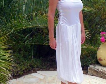 STRAPLESS WHITE HAREM DRAPE BUBBLE WEDDING DRESS