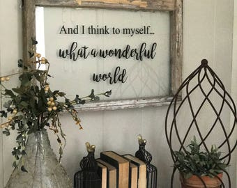 And I think to myself... what a wonderful world vintage window sign