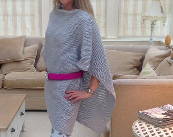 Silver Sparkly Poncho