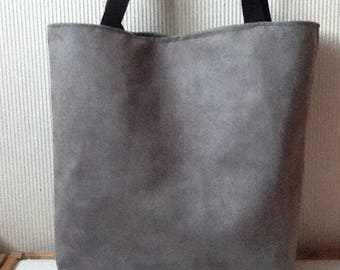 Dark grey suede tote bag