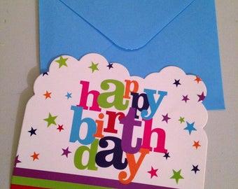 set of 6 blue birthday invitations