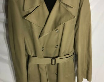 Clipper Mist Lined All Weather Trenchcoat. Size 38 Reg. Tan