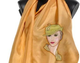Scarf - silk scarf - handpainted - figurative series - orange color