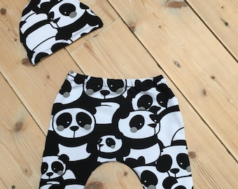 Set of newborn pants + Hat panda