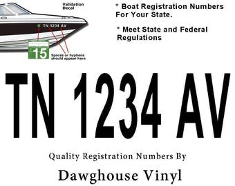 """Boat Registration Numbers Vinyl Decals Set of Two 3"""" X 22"""""""