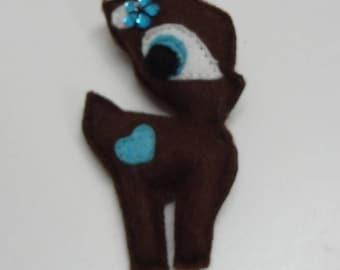 """Fawn"" felt Brown with flower blue brooch"