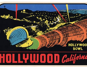 Vintage Style Hollywood California Bowl  Travel Decal sticker