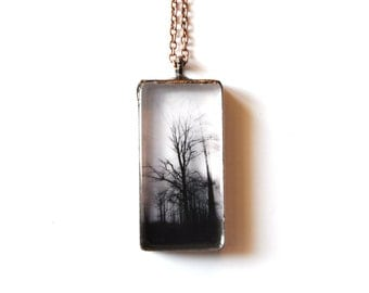 Black Forest in fog stained glass pendant. vintage black copper and glass. Jewelry Gothic women
