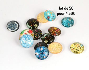Set of 50 glass cabochon with different patterns (12 mm)