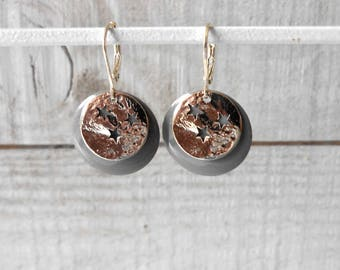 Sequin gray enamel and crumble sequin Star Silver Earring