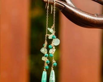 Opal - Aventurine - Malachite earrings - yellow gold 14 k