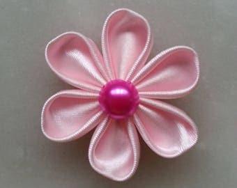fleur de satin rose pale 5 cm