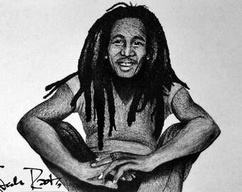 Bob Marley Original Charcoal Drawing