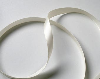 Satin ribbon cream 6mm wide sold by the yard
