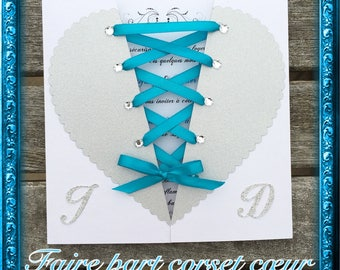 Silver and turquoise heart corset invitation customizable