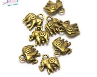 "20 charms ""elephant"" 11 x 12 x 4 mm, 065 bronze"
