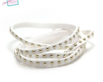 "1 meter suede ""studded Silver"", 5 x 2 mm, white"