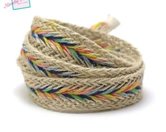 1 m braided strap rope linen 15 mm, multicolored 003