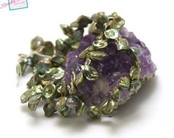 "Wire 39 cm 70 ""keshi"" fresh water pearls, Green-08"