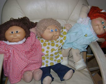 Lot of 3 1985 Cabbage Patch Dolls Signed