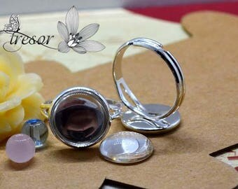 Support, rings, adjustable, silver, 12mm, J001 - 12MM glass Cabochon