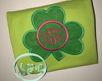 Girl's St. Patrick's Day Clover Applique Shirt