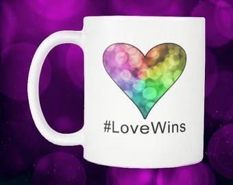 Bokeh Rainbow Heart Coffee Mug #LoveWins
