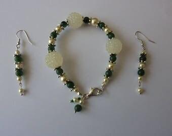 bracelet and earrings ' aventurine beads earrings