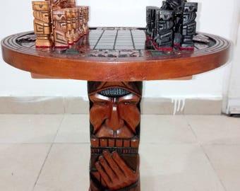 Hand made wooden chess peruvian style.