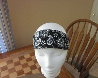 Black Bandana Print Headband with Rhinestones