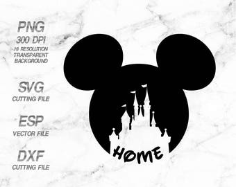 Mickey head castle home  Disney, SVG,Clipart,esp,dxf,png 300 dpi