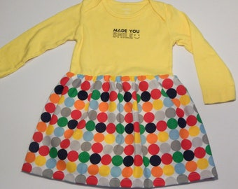 Made You Smile yellow long sleeved 12 month Onesie dress