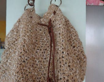 Crocheted wool tote bag