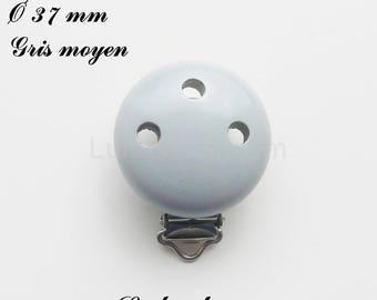 Clip / wooden pacifier Clip, Ø 37 mm from loop: medium grey