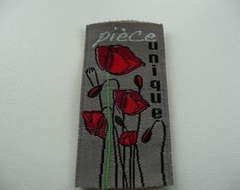 """Woven label """"piece unique poppy"""""""