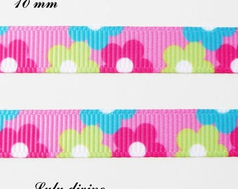Grosgrain pink ribbon flowers, green, fuchsia & turquoise 10 mm sold by 50 cm