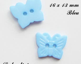 Set of 5 Butterfly buttons with 2 holes for 16 x 13 mm: light blue