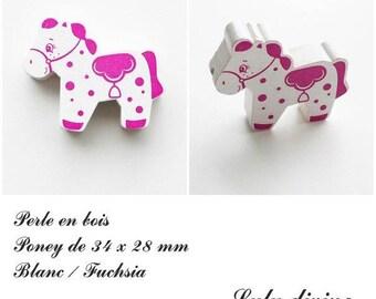 34 x 28 mm wood bead, Pearl flat Pony: white / Fuchsia
