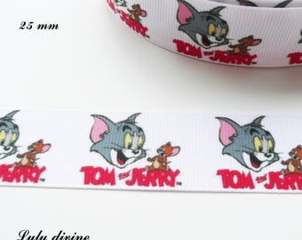 Tom & Jerry 22 mm white grosgrain Ribbon sold by 50 cm