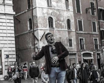 print photography, street, architecture, man, europe, rome, art, people, old town, fun, italy, street art, street photography, figure, 8x10