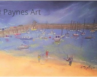 Saundersfoot Harbour Pembrokeshire Giclee Pastel Painting Print Wall Art Summer Gift Seascape Summer Holiday Memories Family Christmas Gift