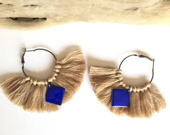 Elegant hoops & camel tassels! Large earrings, tassel pom pom pom pom earrings blue fancy Bohemian style