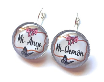 "Original & unique earrings """" ""mid mid evil Angel"" personalized, fun, humour, heart, Star, blue """" """""