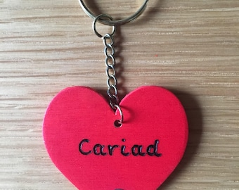 Cariad wooden heart keyring